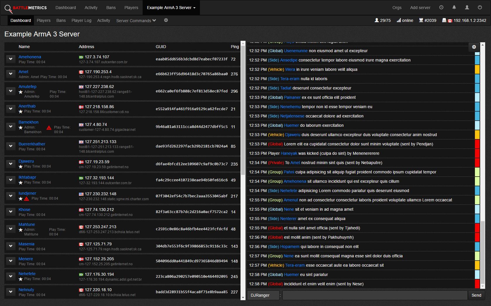 Detailed ArmA server information