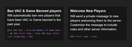 Auto Ban/Kick based on VAC Ban, countries, proxy/VPN and more.